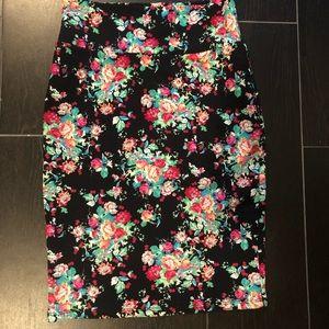 Stretchy Black Floral LulaRoe Cassie Pencil Skirt